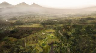 Aerial Rendering of the Ellen Degeneres Campus of The Dian Fossey Gorilla Fund